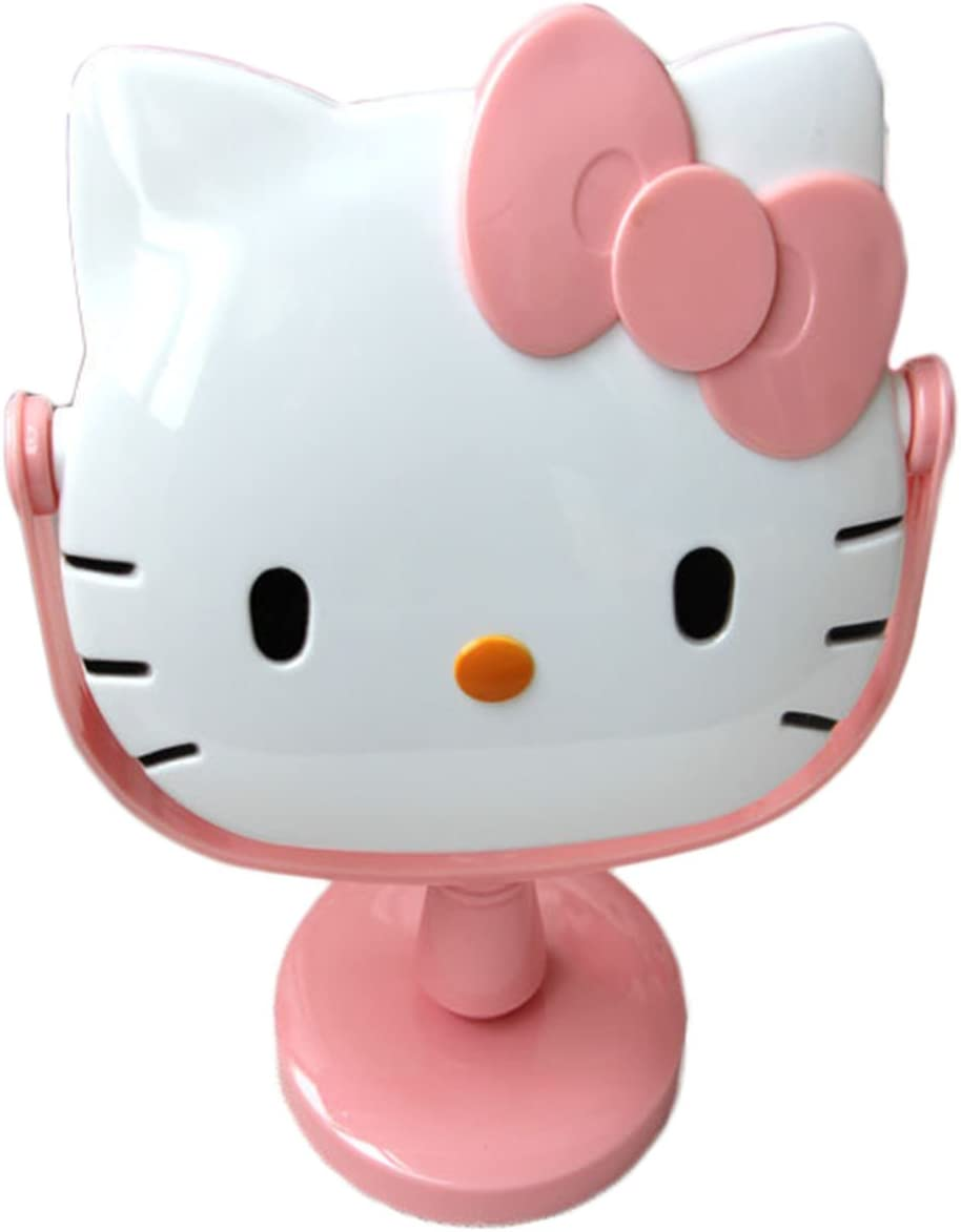 Ikeelife Hello Kitty Cute Cartoon Rotation Dressing Table Bathroom Mirror Adult & Children Rotation Cosmetic Mirror for Makeup Pink