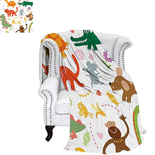 WilliamsDecor Boys Oversized Travel Throw Cover Blanket Jolly Cartoon Animals Colorful Flowers and Hearts for Cheerful Babies and Children Travel Throw Blanket 60