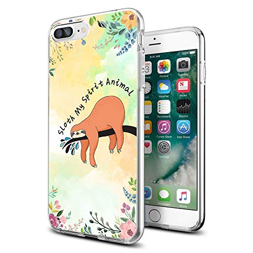 Cocomong Cute Animal Sloth Quote Floral Thin Solf TPU iPhone Case for iPhone 8 Plus iPhone 7 Plus for Women Girls Men -