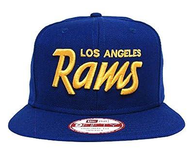 Los Angeles Rams Snapback Original Fit New Era Yellow Script Cap Hat Blue