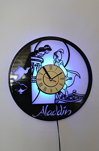 NICE STUFF ONLY Aladdin Disney Wall Light Clock - Original Home Interior Décor - Wall Clock - Perfect Gift for Boys and Girls (Blue)