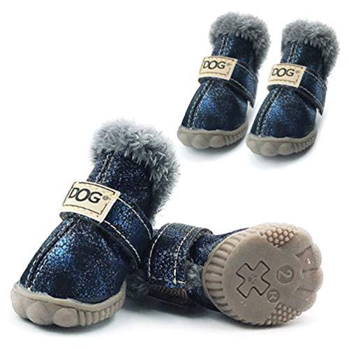 Azul Antideslizantes Algodón De 4pcs Perros Para Feidaeu Zapatos Fluorescente Pequeños Invierno Cálido Set Mascotas nU8g7qTxw