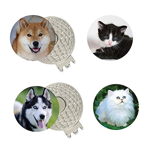 PINMEI Golf Ball Markers-Cat Dog Pets Golf Ball Marker with Magnetic Golf Hat Clip (Dog cat 01)