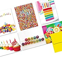 Note Card Cafe Happy Birthday Card Assortment with Envelopes   144 Pack   Blank Inside, Glossy Finish   Colorful Birthday Designs   Bulk Box Set for Greeting Cards, Occasions, Birthdays