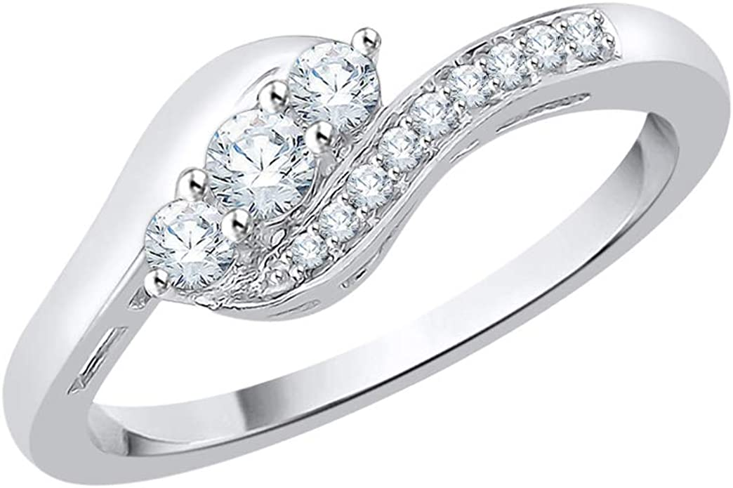 Diamond Wedding Band in Sterling Silver 1//4 cttw, G-H,I2-I3 Size-11