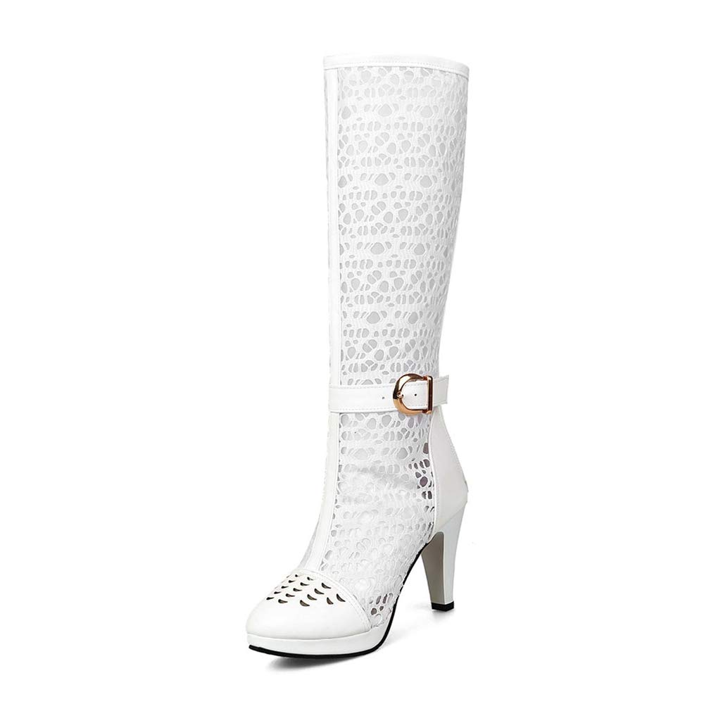 White T-JULY Woman Party Summer Sexy Big Size Boots Sexy Ladeis Thin High Heels Knee-high shoes