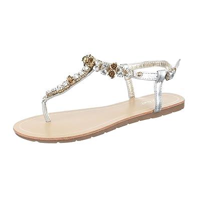 Ital-Design Zehentrenner Damen Schuhe Peep-Toe Strass Besetzte Schnalle Sandalen/Sandaletten Blau Silber, Gr 36, Hj99-25-