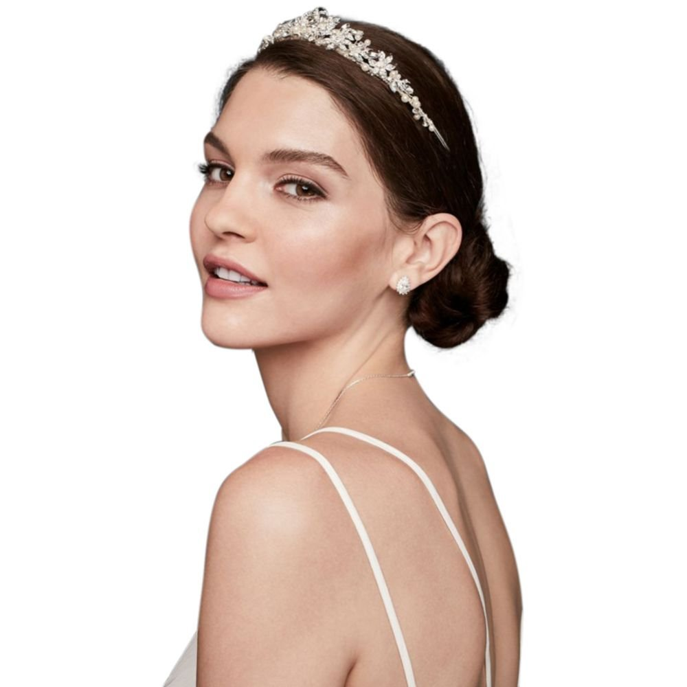 Crystal and Pearl Floral Tiara Style 835, Silver by David's Bridal