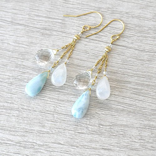 14K Gold. Larimar, Moonstone, White Topaz earrings, Pastel Blue stone Earrings, White stone earrings - Moonstone Gold Chandelier Earrings