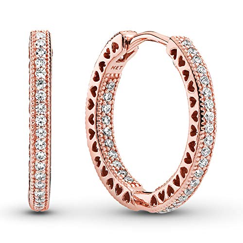 Pandora Jewelry – Sparkle and Hearts Hoop Earrings in Pandora Rose with Clear Cubic Zirconia