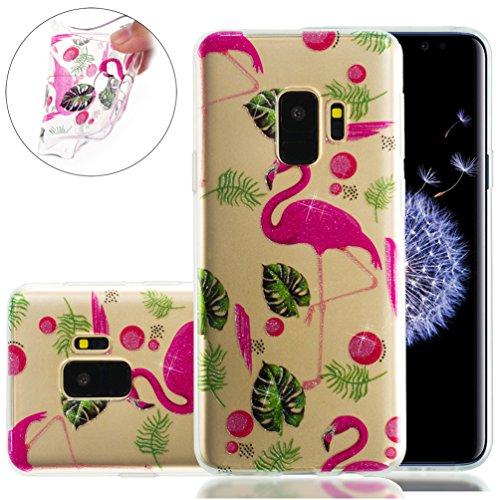 Samsung S9 Plus Funda, Galaxy S9 Plus TPU Case Cover, NEWSTARS Lujo Bling Bling Glamour Brillante Glitter Flamenco Unicornio Mariposa Flor Diseño Funda Carcasa Ultra Delgado Resistente a los Arañazos  B Glitter TPU 0