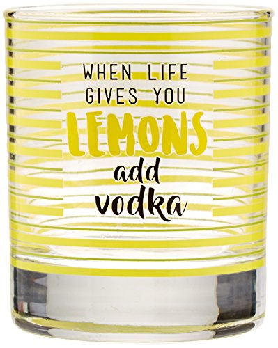 Livin' on the Wedge Limes or Lemons When Life Gives You Lemons Add Vodka Yellow Striped Whiskey Glass, 10 oz, Yellow