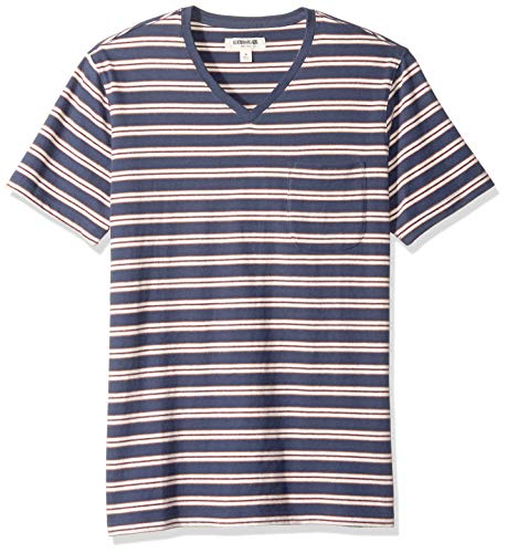 T-shirt Tee Large Denim - Goodthreads Men's Short-Sleeve Sueded Jersey V-Neck Pocket T-Shirt, Denim Retro Stripe, Large