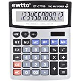 Solar Calculator,Lomanda Desk Calculator Solar and Battery Dual Power Business Calculator with 12 Digits Large LCD Display Big Buttons for School Grocery Store Office