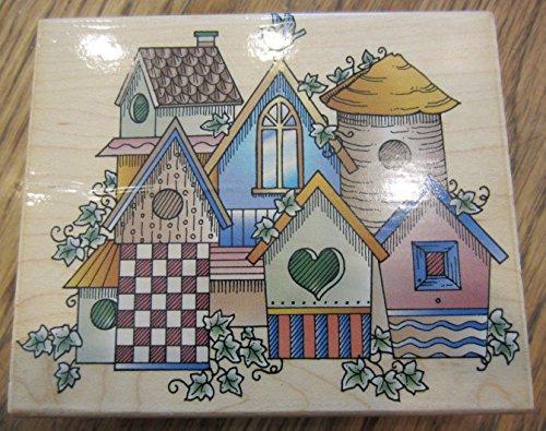 (Birdhouse Village Collage H1153 Hero Arts Wooden Rubber Stamp)