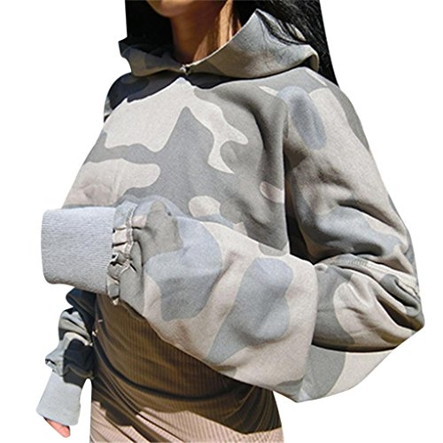 Women Teen Girls Camo Print Long Sleeve Cropped Hoodies Sweatshirt Pullover Crop Top (M, Multicolor) (Camo Crop Hoodie)