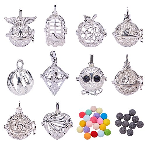 BENECREAT 10PCS Mixed Shape Hollow Silver Plated Bead Cage Pendant Oil Diffuser Pendant - Perfume Fragrance Essential Oil Aromatherapy Diffuser Charms Pendant Necklace