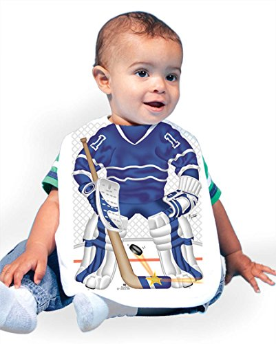 Just Add A Kid Baby Boy's Hockey Goalie Blue 93 Baby Bib 0-6 Months (Hockey Baby Bib)