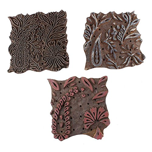 IndianShelf Handmade Set of 3 Piece Brown Wooden Canvas Paper Printing Stamp Textile Fabric Block by Indian Shelf