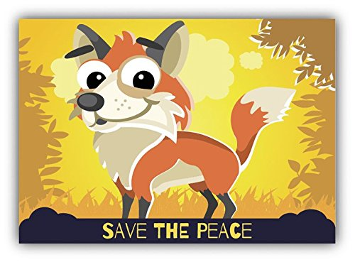 save-the-peace-fox-cartoon-animal-greenpeace-slogan-sticker-decal-design-5-x-4