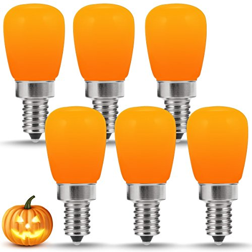 LOHAS Halloween Pumpkin Decorative Light Bulbs, S11 E12 Base LED Bulb, Orange Amber Yellow Bug Night Lights, 20W Equivalent(2W), Mini Bulb for Bedroom, Holiday, Christmas, Lighthouse(6 Pack)