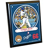 "MLB Los Angeles Dodgers Yasiel Puig Plaque with Game Used Dirt from Dodger Stadium, 8"" x 10"", Navy"