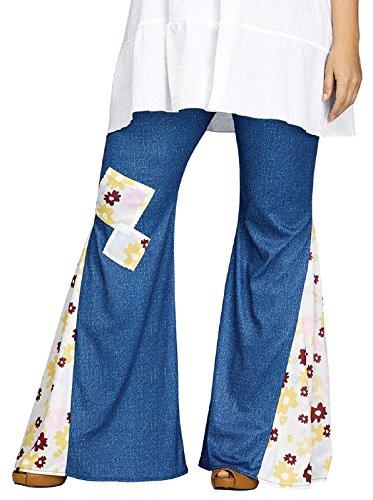60s Hippie Plus Size Costumes (Flower Child Bell Bottoms Adult Costume Denim Print - Plus Size 1X)