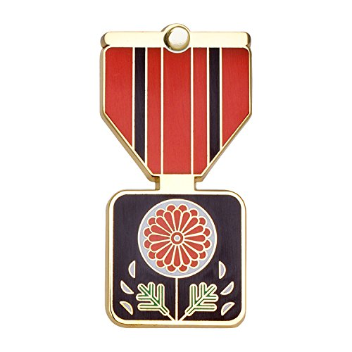 CHRYSANTHEMUM Greeting Card & Gift (Lapel Pin / Necklace Charm) for Honesty by Merit Medals