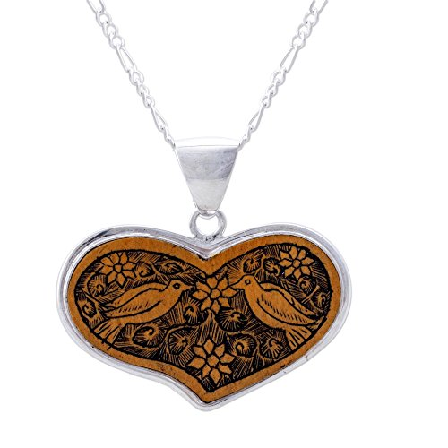 NOVICA .925 Sterling Silver and Carved Mate Gourd Heart Shaped Pendant Necklace, Lovebirds', ()