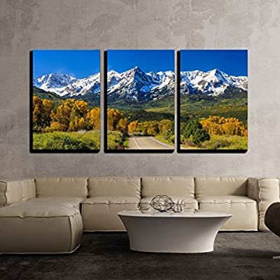 Countryside Road Fall Season in Colorado x3 Panels...