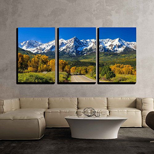 wall26 - 3 Piece Canvas Wall Art - Countryside Road, Fall Season in Colorado - Modern Home Decor Stretched and Framed Ready to Hang - 24