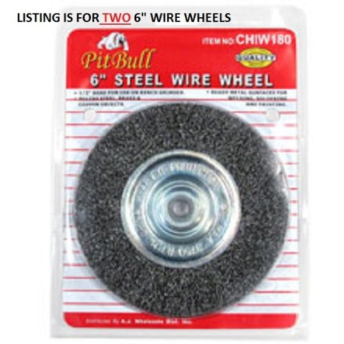 "2 Pitbull 6"" Steel Wire Wheel Brushes for Bench Grinder"