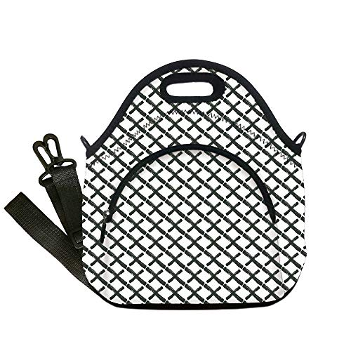 Insulated Lunch Bag,Neoprene Lunch Tote Bags,Modern,Math Geometry Inspired Minimalist Design with Brushstrokes Like Art Print Decorative,Charcoal Grey White,for Adults and children