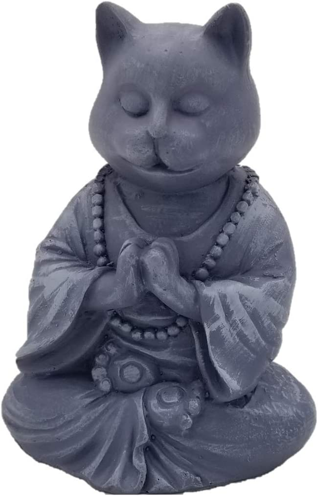 RK Collections Buddha Cat Statue in Meditating Cat Figurine Pose for Zen Cat Memorial Or Spiritual Decor. Dhyana Mudra Pose Yoga. Meditating Kitty.