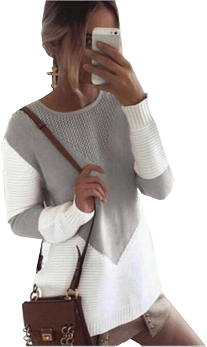 ZKOO Damen Strickpullover Langarm Rundhals Hohl Pulli Loose Stitching Strick Pullover Herbst und Winter Strickpulli Pullover