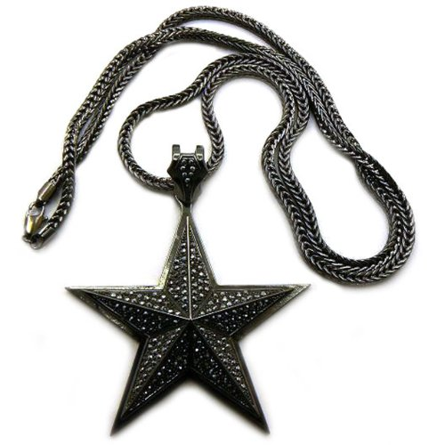 Lone Star Pendant (Iced Out 3D Lone Star Pendant w/ 4mm 36' Franco Chain Necklace, Hematite-Tone, MP526HE)