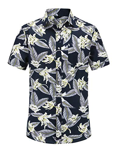 JEETOO Mens Casual Flower Print Hibiscus Short Sleeve Hawaiian Aloha Shirt (JS073PR002, S)