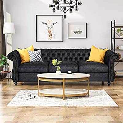 Excellent Vita Chesterfield Tufted Microfiber Sofa With Scroll Arms Black Alphanode Cool Chair Designs And Ideas Alphanodeonline