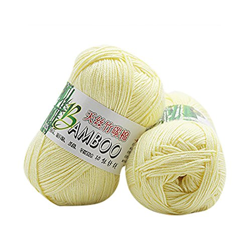 Molyveva Assorted Colors Bonbons Yarn Skeins - Soft Tencel Bamboo Cotton Yarn Skeins - Perfect for Any Knitting and Crochet Mini Project - 1 Piece (Light Yellow)