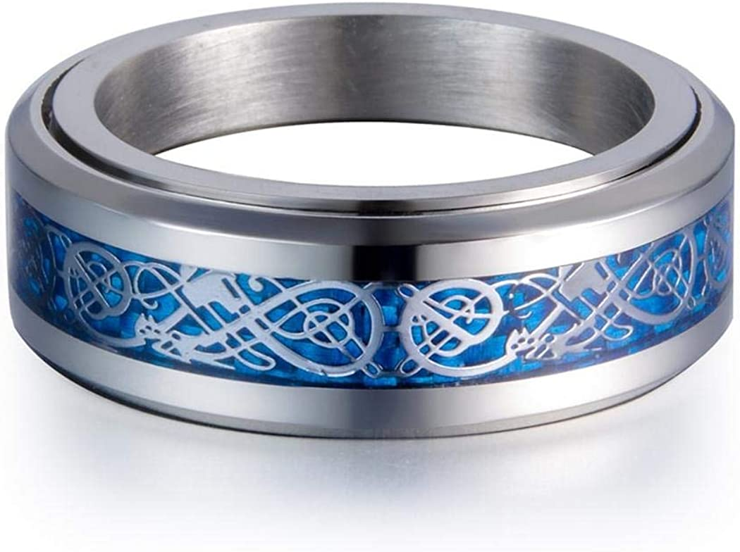 Blue Fiber in White JEWURA Couple Love Ring Fashion Stainless Steel Jewelry