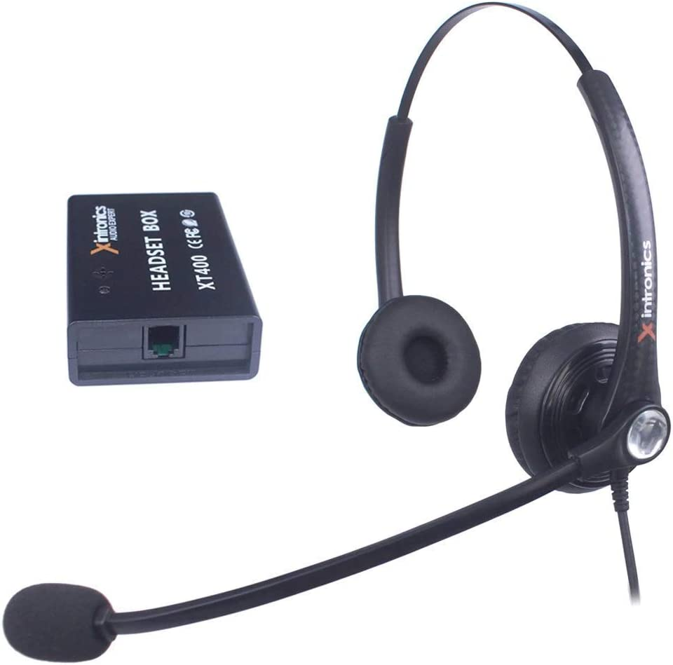 Xintronics Auriculares Teléfono Fijo Dual Universal Compatible con Mayoría Teléfonos Fijos, Cascos RJ9 con Botón de Respuesta, Micrófono con Cancelación de Ruido, Control de Volumen(XT402)