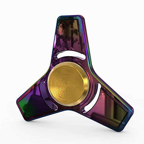 InfiSpin Fidget Spinner, Metal Tri Spinner [Easy Flick & Spin] Prime EDC Focus + Stress Relief Toy | High Speed Bearings for 4+ Minutes of Spinning | Smooth, Quiet & Fast [Rainbow Blade]