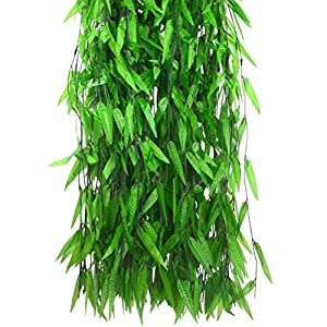 Wcysin 50 Pieces Artificial Vine Fake Leaves Silk Willow Rattan Wicker Twig for Jungle Party Supplies 110