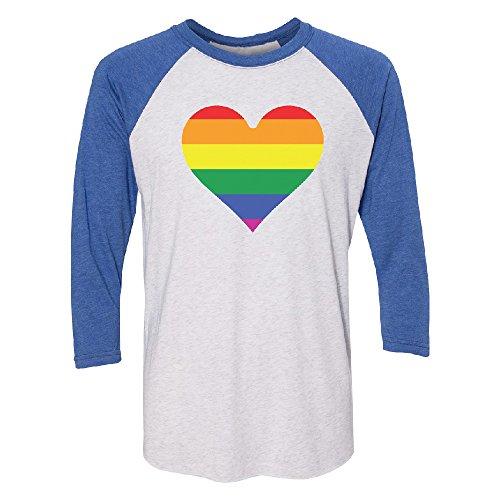 Zexpa Apparel Rainbow Heart Flag 3/4 Raglan Tee Gay Pride Walk LGBT Jersey Royal/White (Raglan Gay Rainbow Flag)