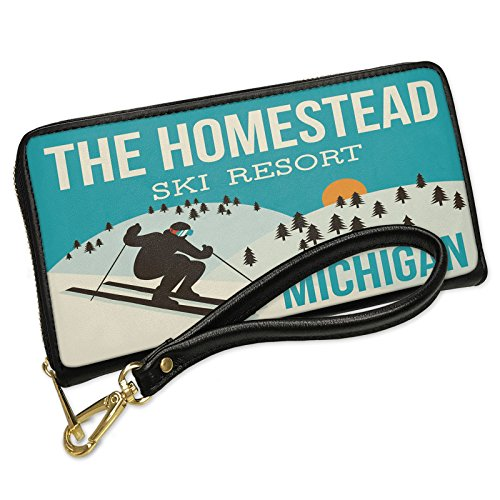 Wallet Clutch The Homestead Ski Resort - Michigan Ski Resort with Removable Wristlet Strap Neonblond