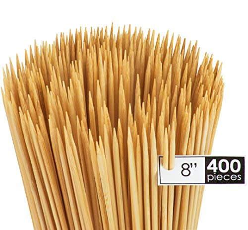 - DecorRack Natural Bamboo Skewer Sticks, 400 Pack of 8 inch Natural Wooden Barbecue Kabob Skewers, Best for Grill, BBQ, Kebab, Marshmallow Roasting or Fruit Sticks