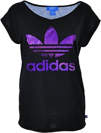 Adidas Logo Tee Womens Originals Shirt Ladies Trefoil T-Shirt Black