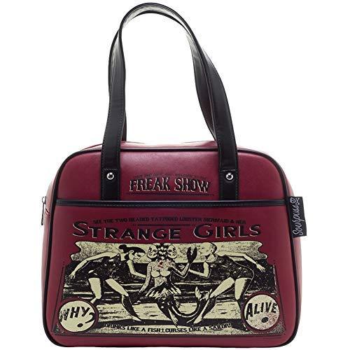 Women's Sourpuss Strange Girls Bowler Purse Oxblood (Sourpuss Handbags)