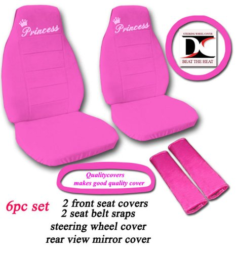 6 Piece set. Hot Pink Princess seat covers, steering wheel cover, seat belt cover and rear view mirror cover. Universal seat covers. (Princess Seat Covers)