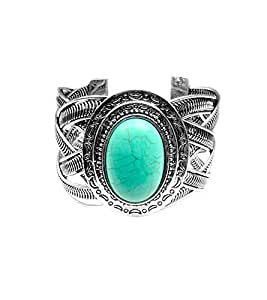 Miao Inspiried Silver Woven Cuff Bracelet - Oval Turquoise Stone with Crescent Moon Shield Frame